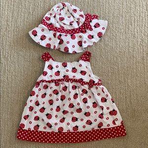Gymboree ladybug dress and hat sz 4T